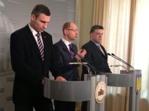 Виталий Кличко, Арсений Яценюк и Олег Тягнибок