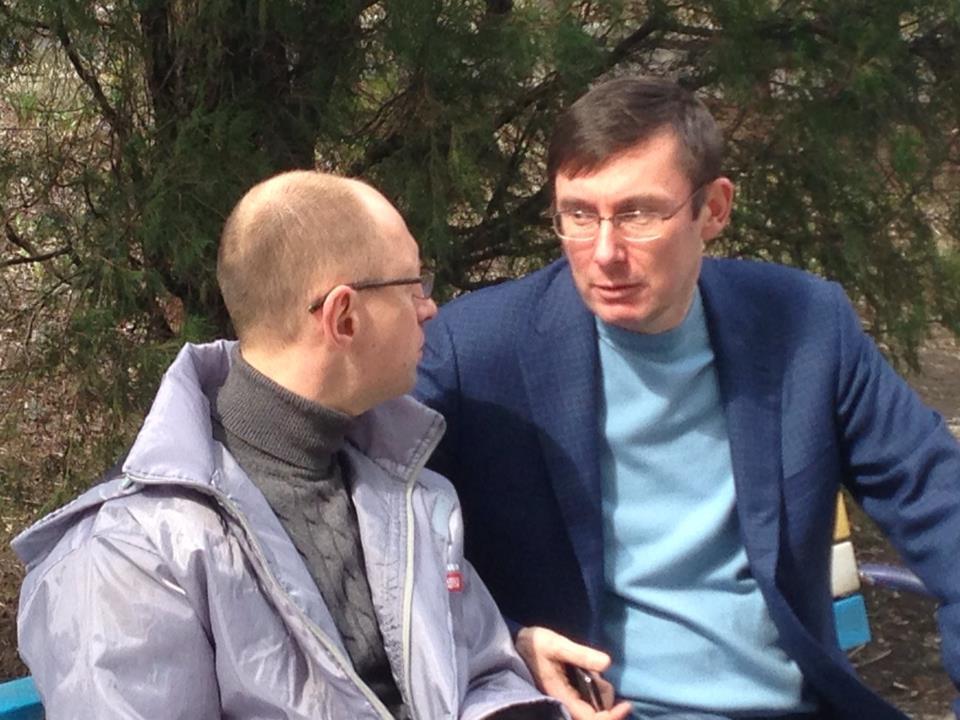 Яценюк и Луценко под больницей Тимошенко