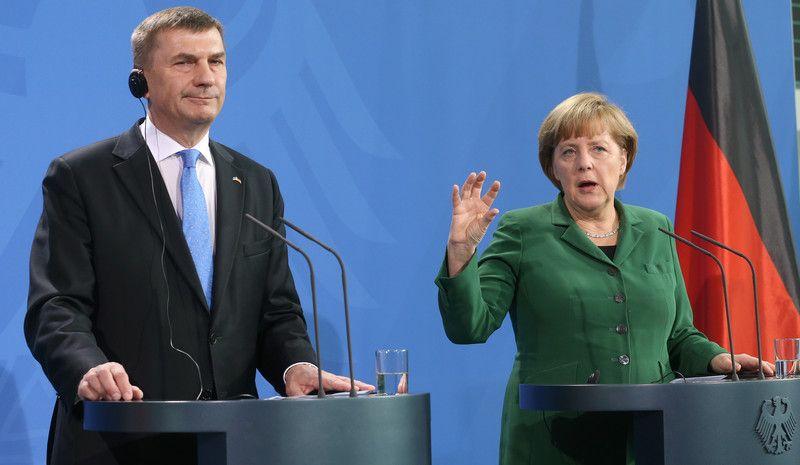 Канцлер Германии Ангела Меркель и  премьер-министр Эстонии Андрус Ансип