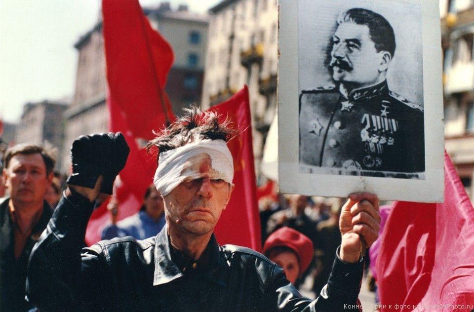 Портрет Сталина на митинге