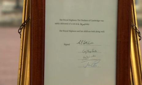 Сообщение о счастливых родах Ее высочества герцогини Кембриджской