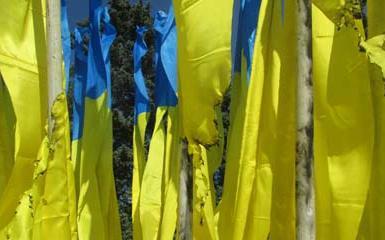 Флаги Украины сожгли на площади перед исполкомом