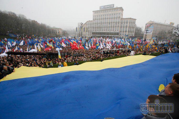 Евромайдан собрал от 100 до 150 тыс. участников
