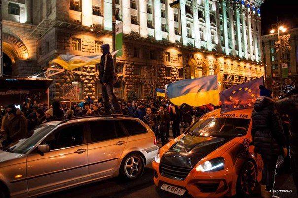 Автоколонна Евромайдана. Иллюстрация