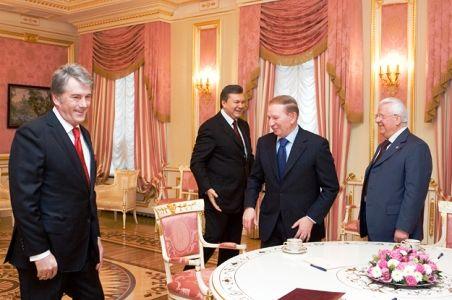 Президенты Украины: Виктор Янукович,  Леонид Кравчук, Леонид Кучма и Виктор Ющенко