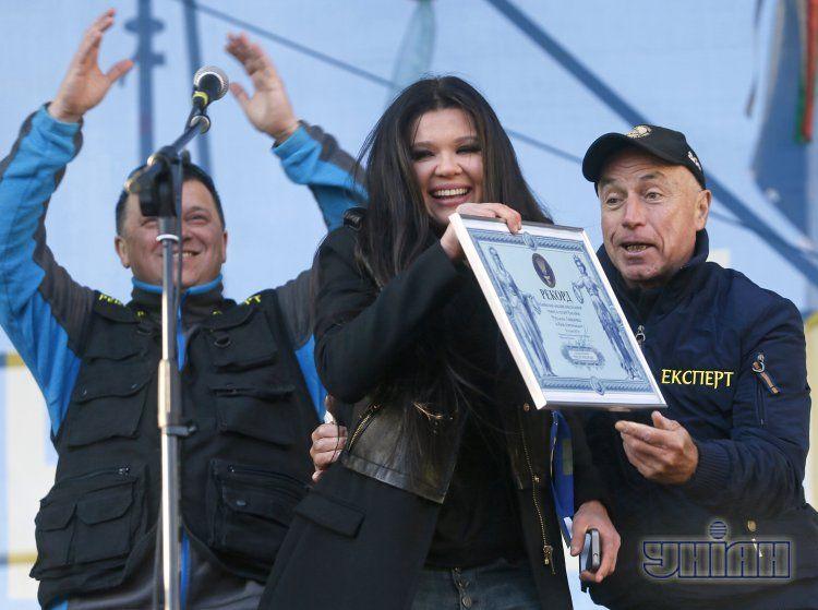 Руслана во время воскресного протеста на Майдане