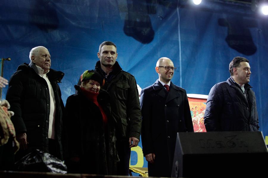 Лидеры оппозиции - Арсений Яценюк, Виталий Кличко и Олег Тягнибок'
