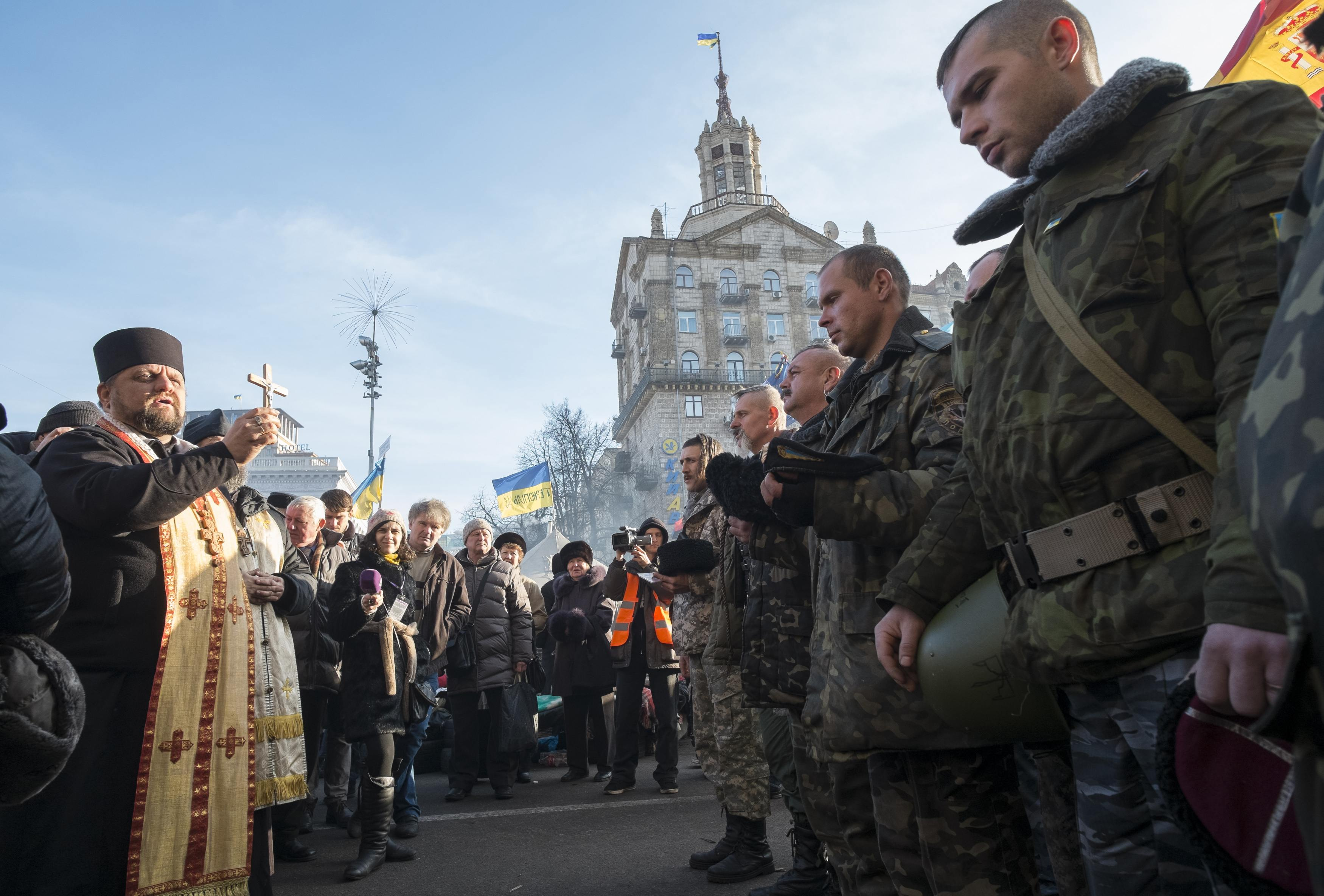 Охранники-добровольцы на Евромайдане