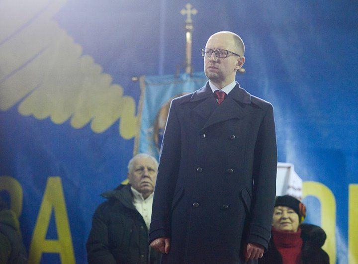Арсений Яценюк на рождественском Евромайдане