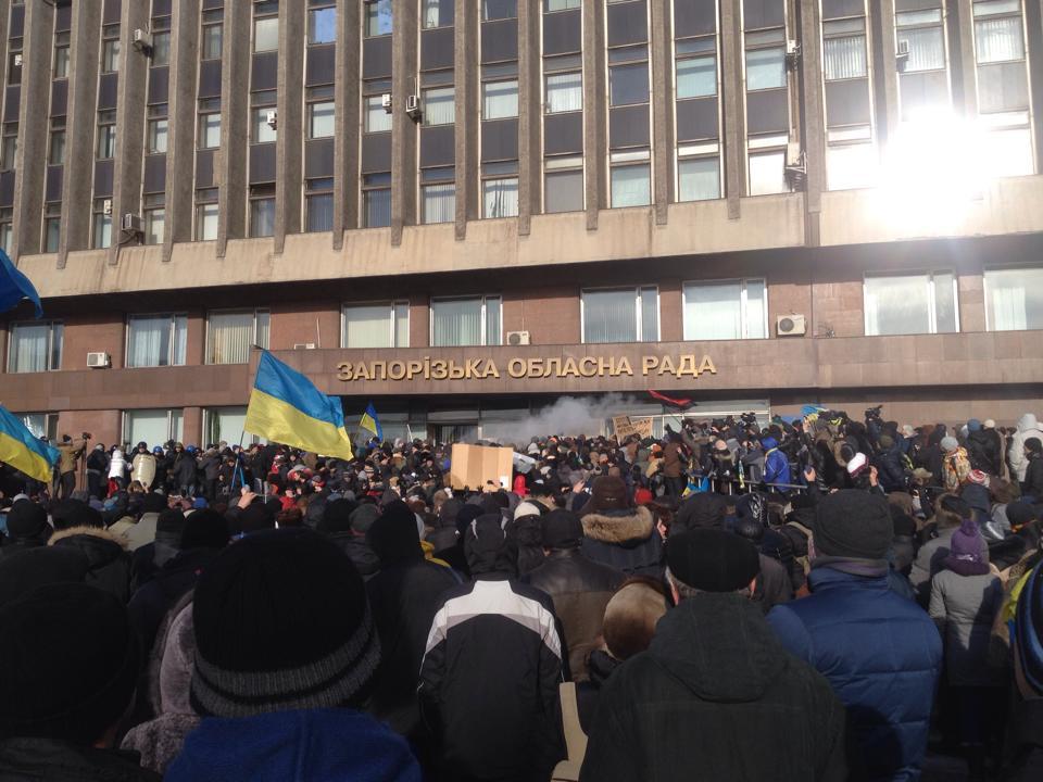 Штурм запорожской ОГА, фото с места событий