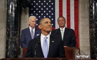Барак Обама во время выстуления в Конгрессе