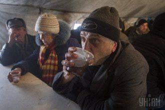 Пункт обогрева в Донецке