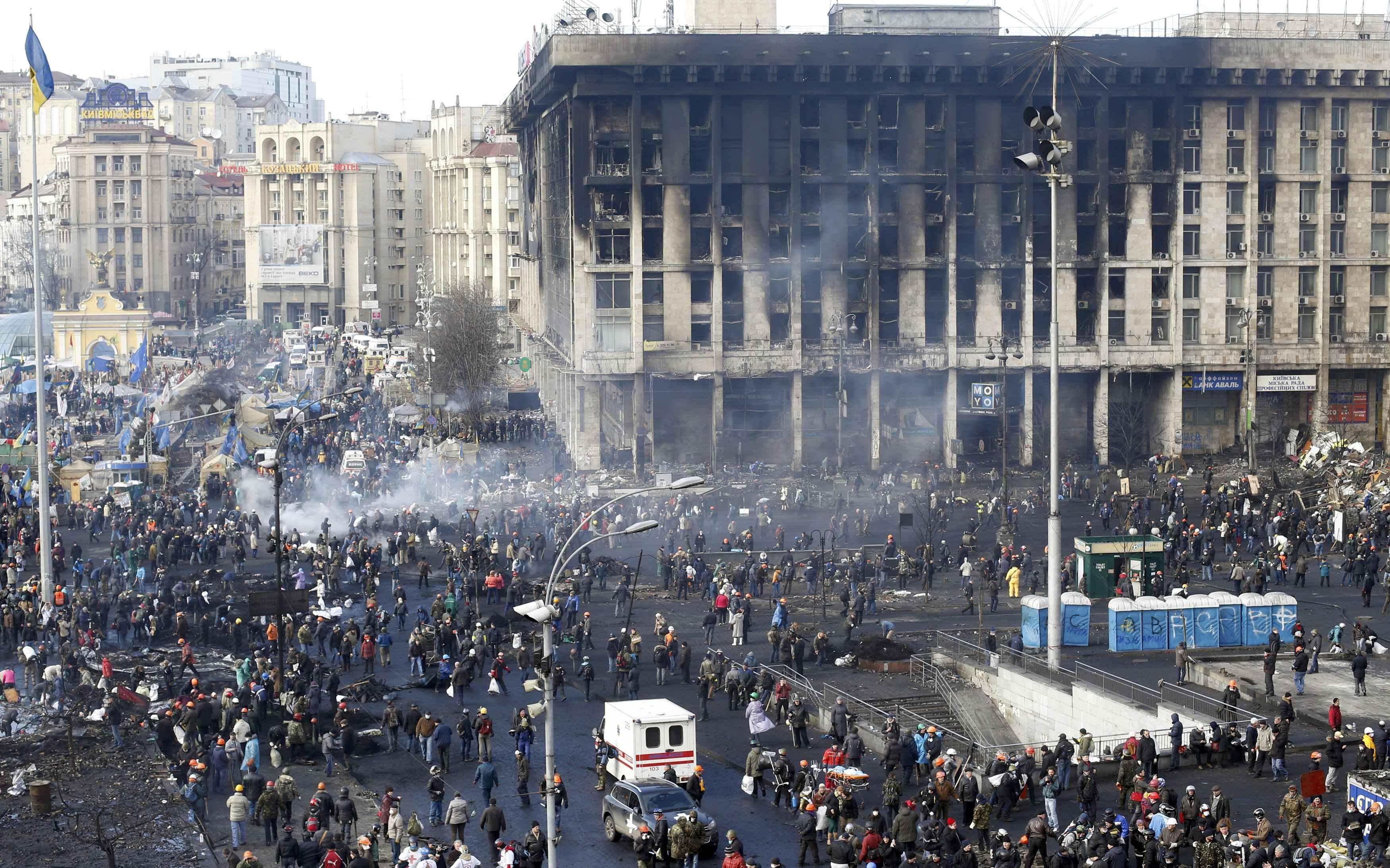Дом профсоюзов на Майдане, 21 февраля