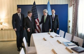 Петр Порошенко и лидеры оппозиции на встрече с Госсекретарем США Джоном Кэрри