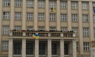 Закарпатская ОГА, занятая митингующими