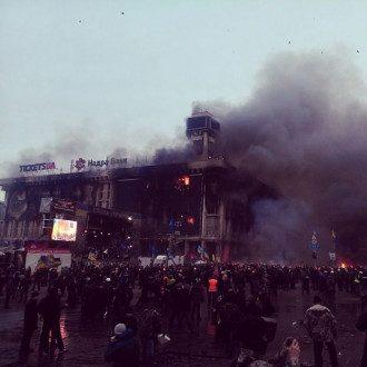 Пожар в Доме профсоюзов. Фото: Facebook Evgen Buderatsky