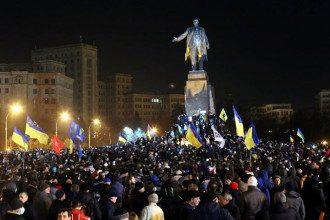 Акция возле памятника Ленину в Харькове