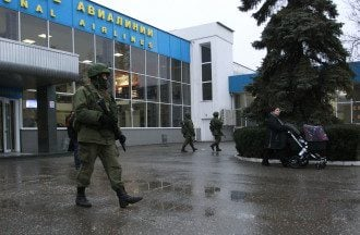 Заблокированный аэропорт в Симферополе.