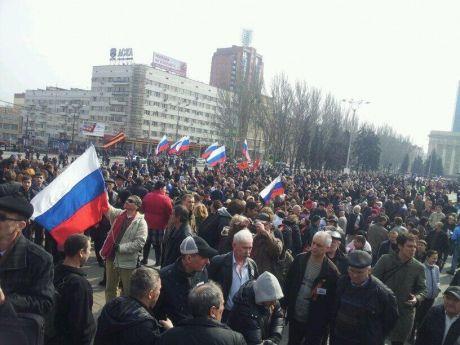 Акция сепаратистов в Донецке в 2014 году