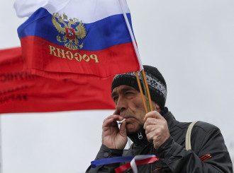 Участник пророссийской акции в Донецке