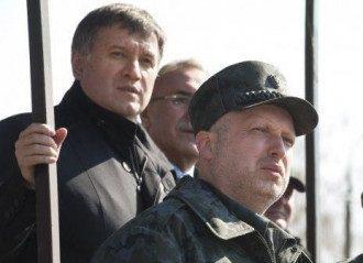 Турчинов и Аваков на учениях Нацгвардии