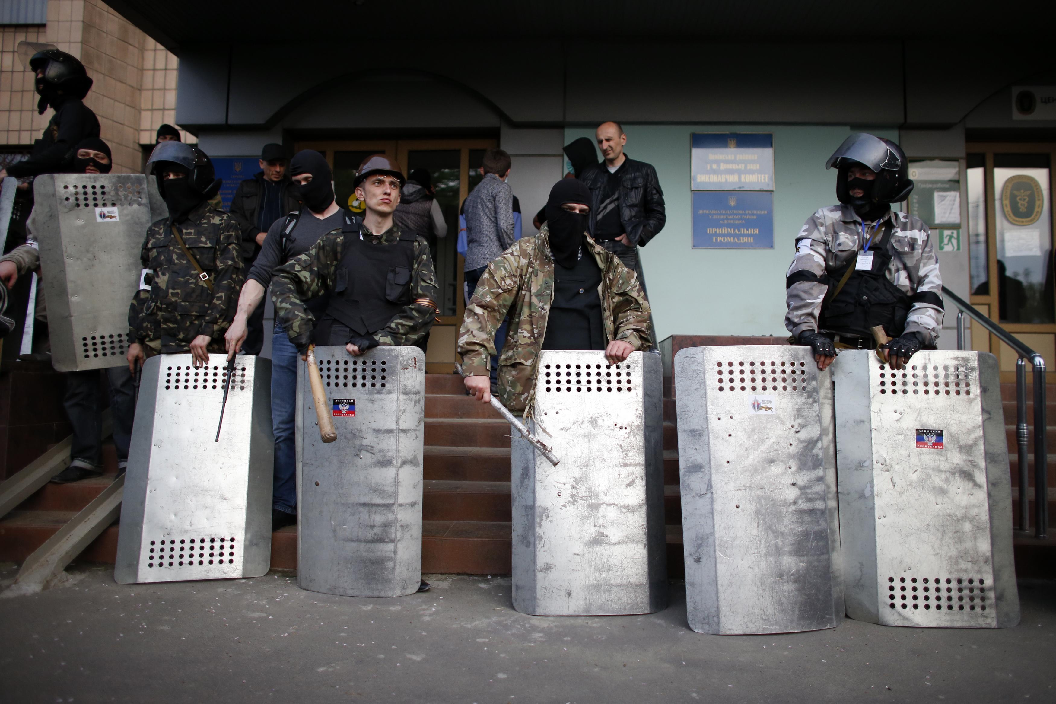 Прроссийские боевики в Донецке