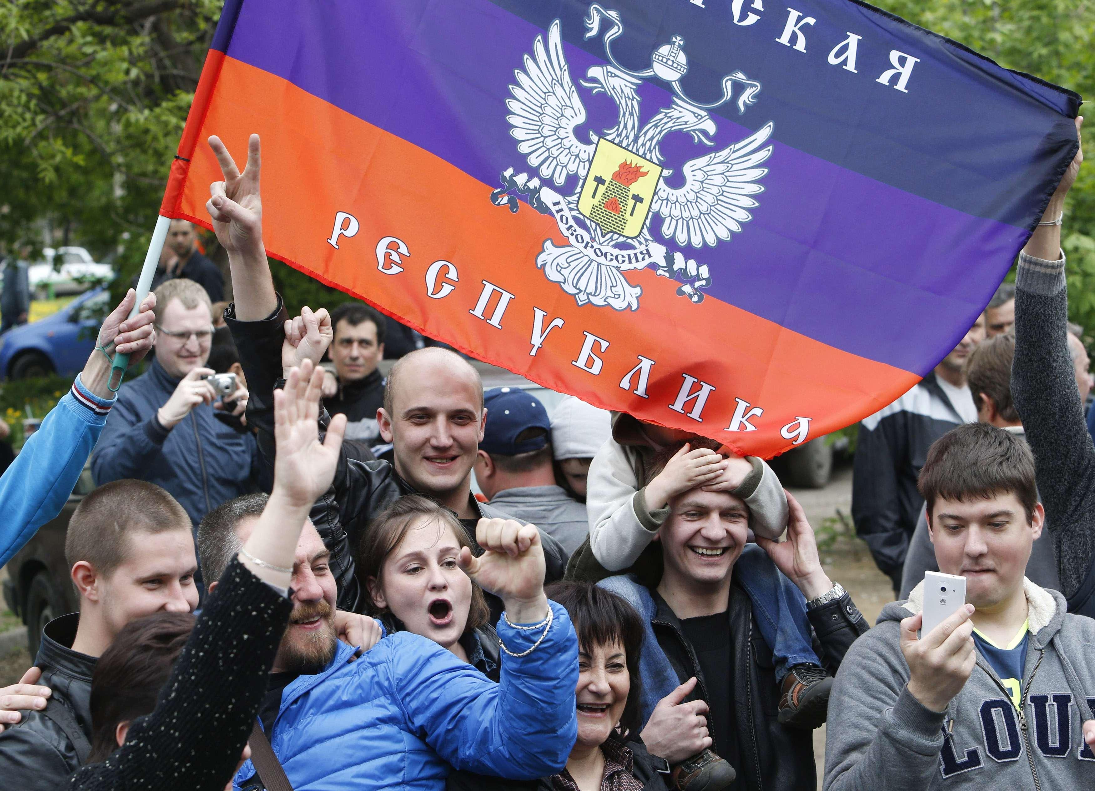 Акция сепаратистов в Донецке