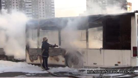 Возгорание автобуса в Киеве