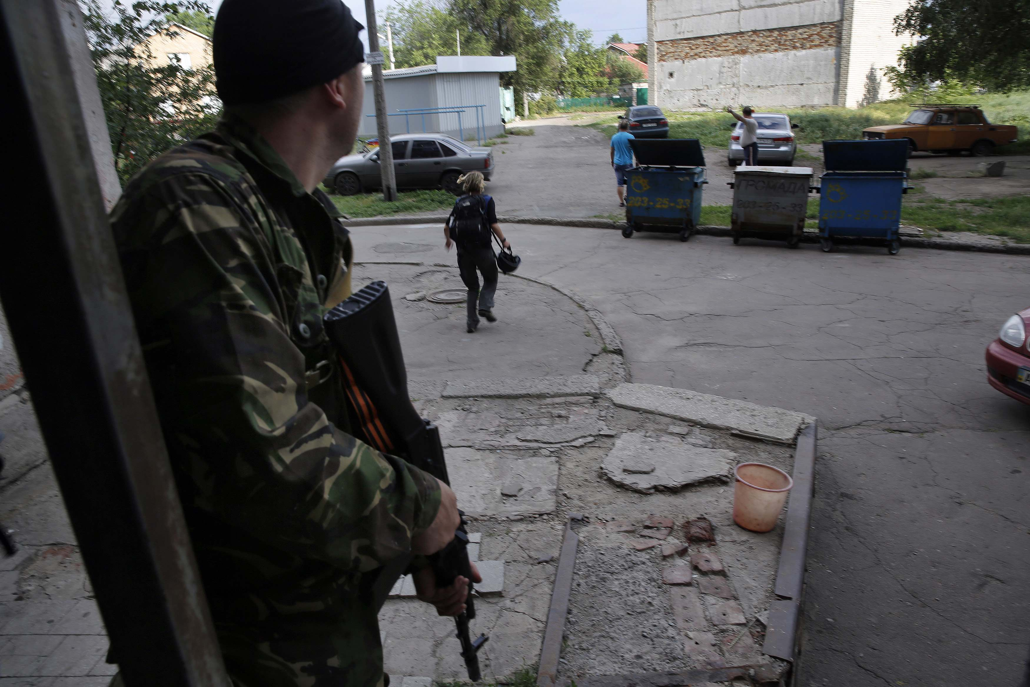 Пророссийский боевик в Донецке