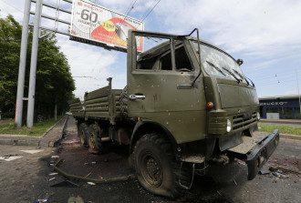 Разбитый КамАЗ боевиков в Донецке