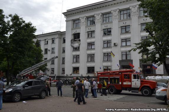 Здание Луганской ОГА после взрыва