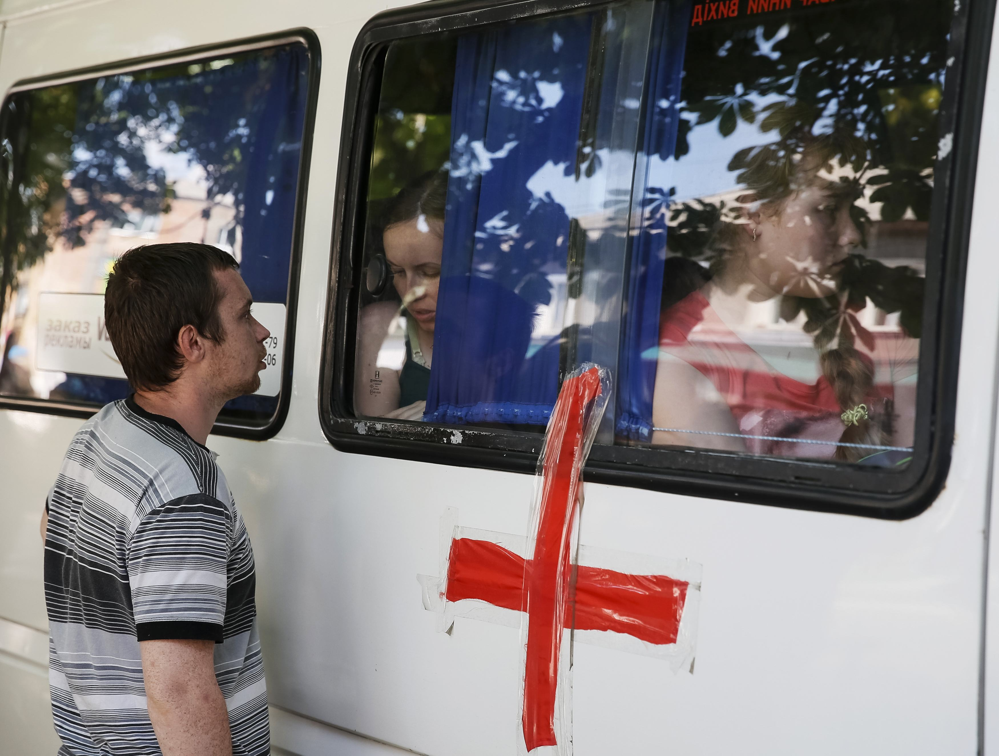Эвакуация мирных жителей из Славянска