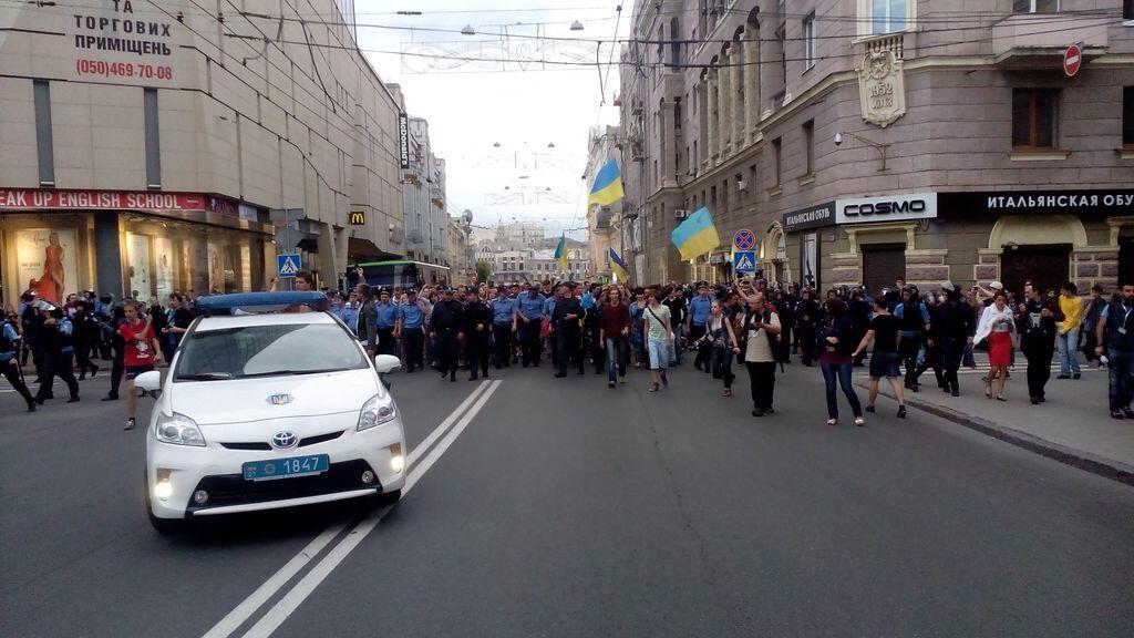 Участники Веча в центре Харькова