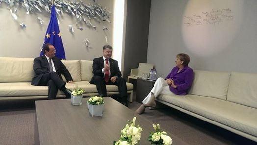Порошенко, Меркель и Олланд, иллюстрация