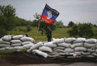 Блокпост и флаг так называемой ДНР