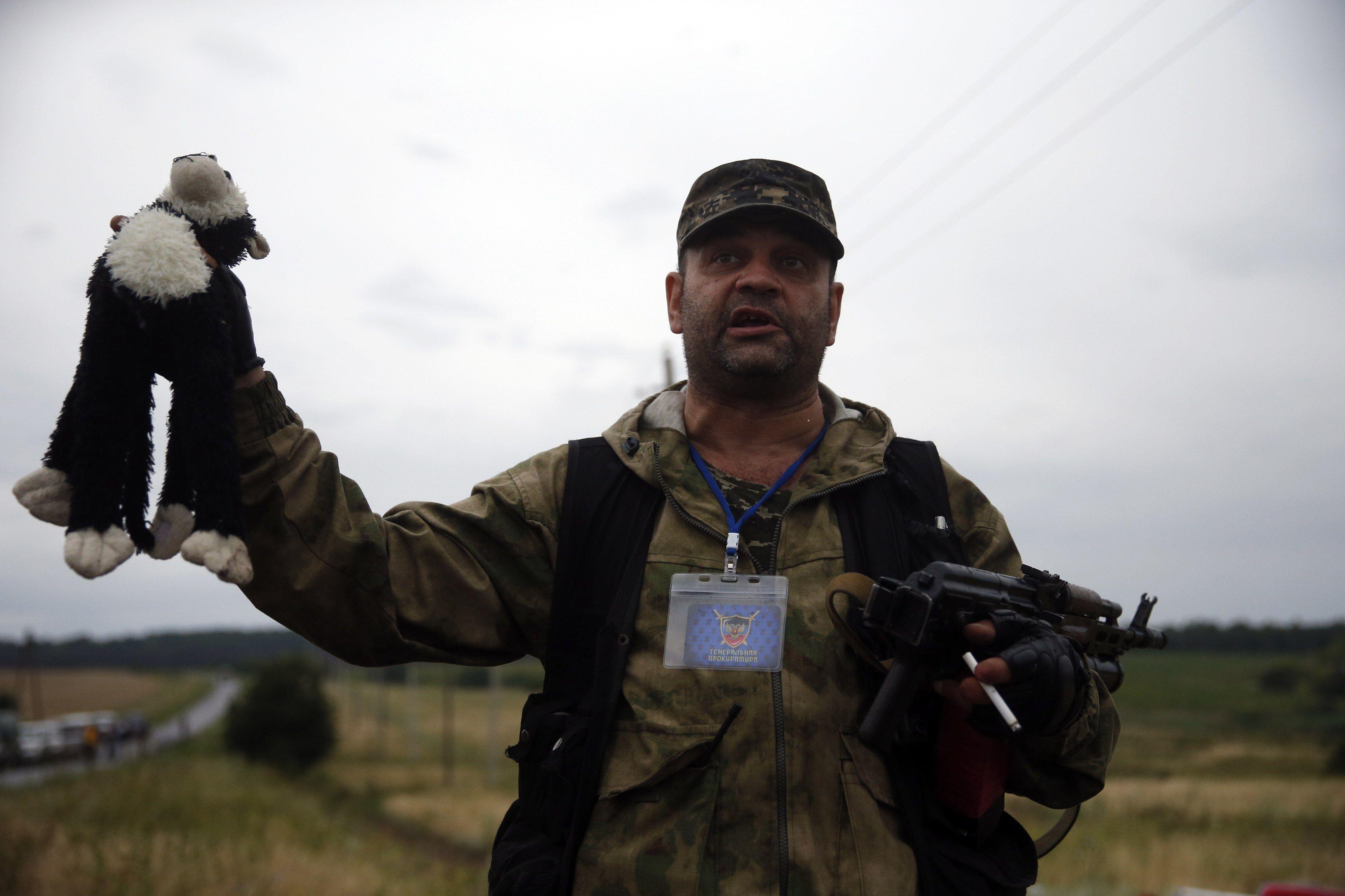 Пророссийский террорист на месте крушения