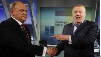 Лидер КПРФ Геннадий Зюганов и Владимир Жириновский