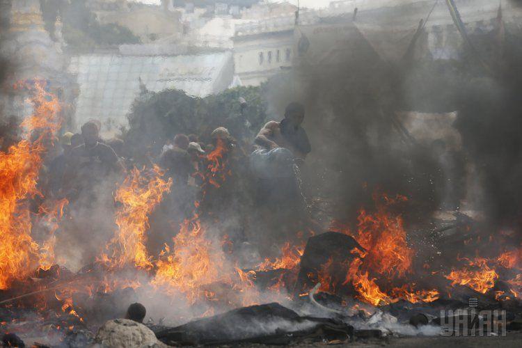 Пожар на Майдане, фото с места событий