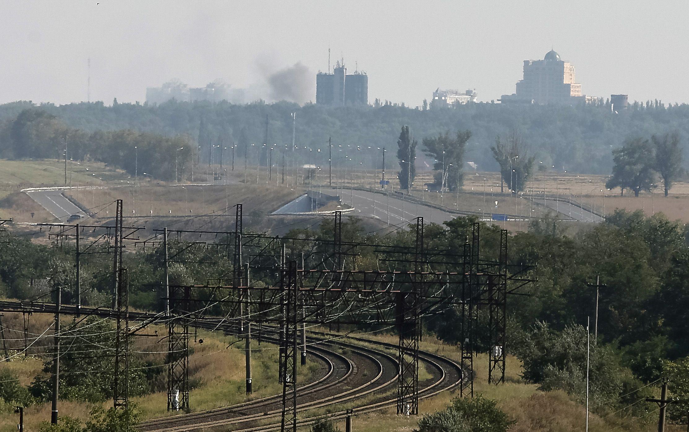 Донецк во время обстрела, иллюстрация