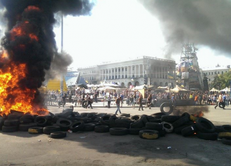Горящие шины на Майдане