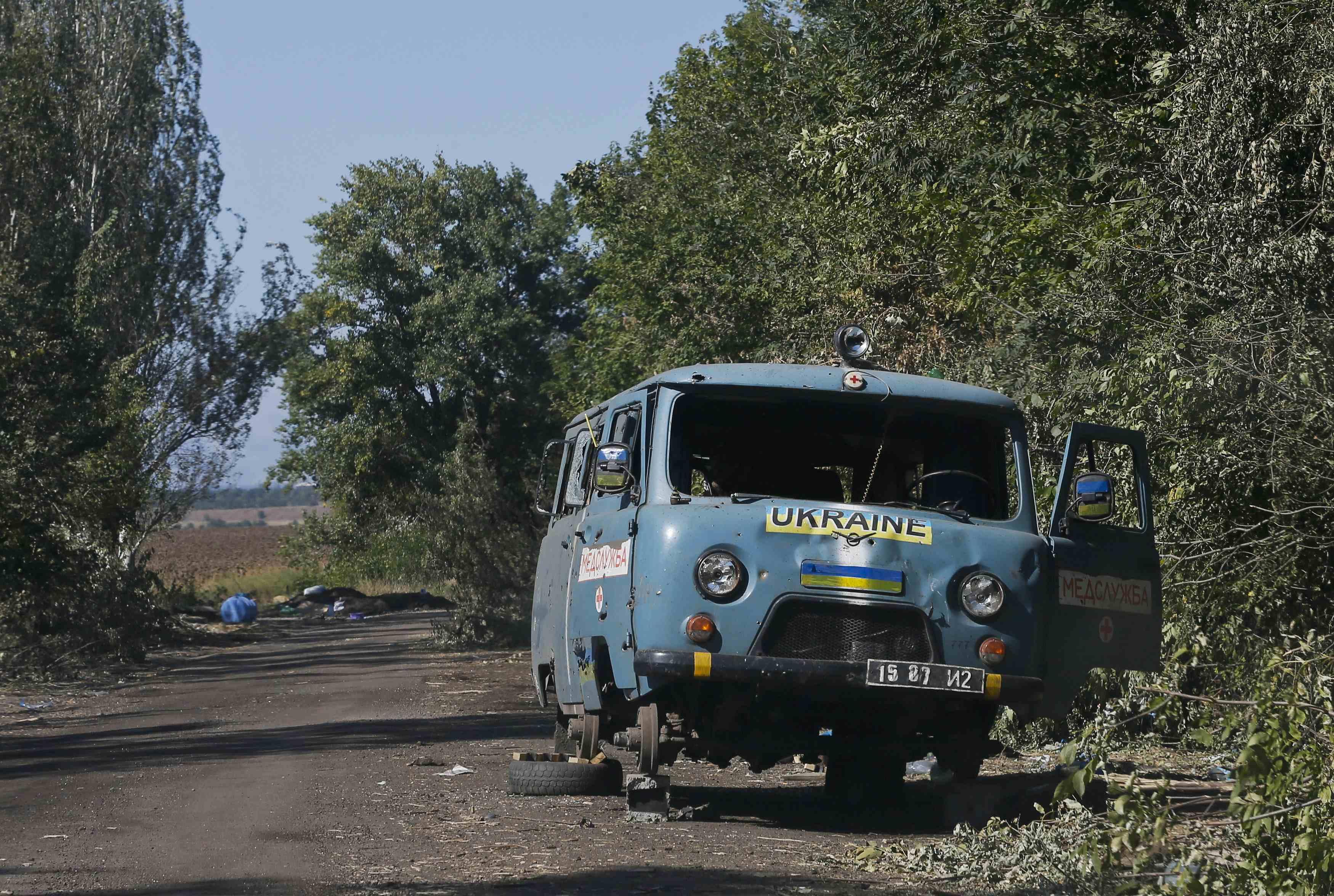 Уничтоженная скорая помощь ВСУ под Иловайском