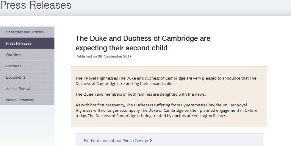 Сообщение Букингемского дворца