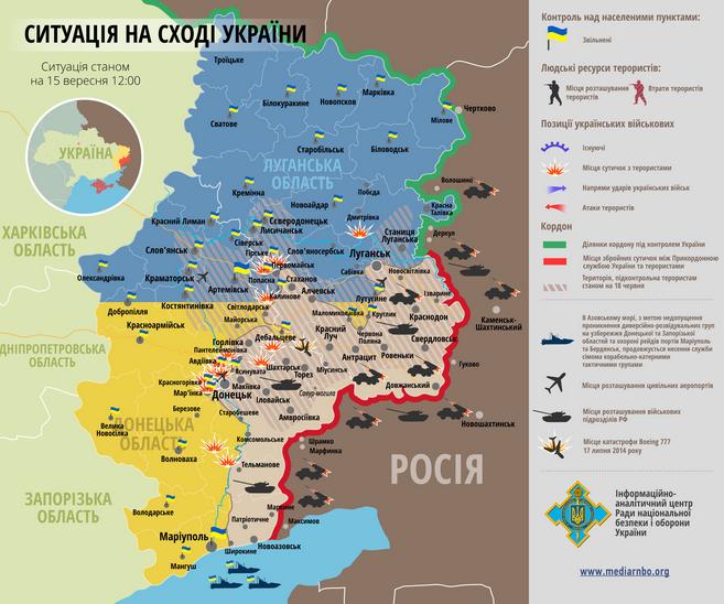 Карта зоны АТО: по состоянию на 3 октября