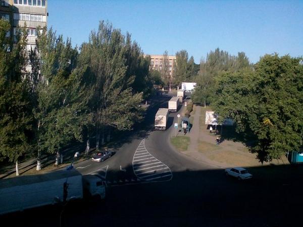 Российскийские грузовики в Донецке