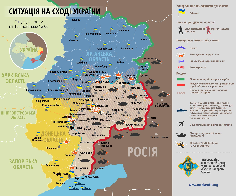 Карта АТО на 16 ноября