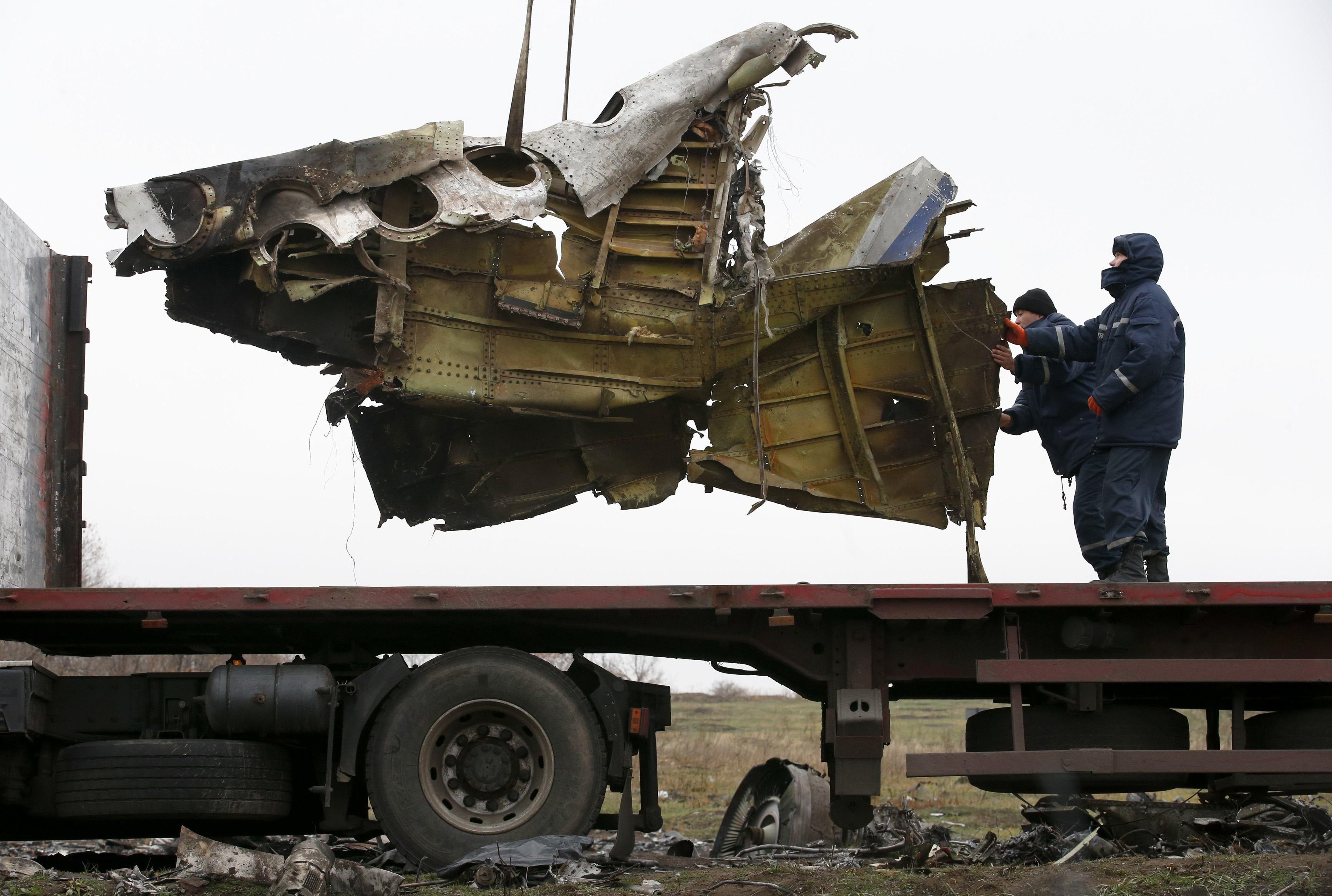 Обломки самолета, потерпевшего катастрофу на Донбассе