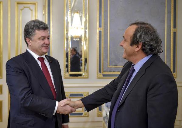 Петр Порошенко и Мишель Платини