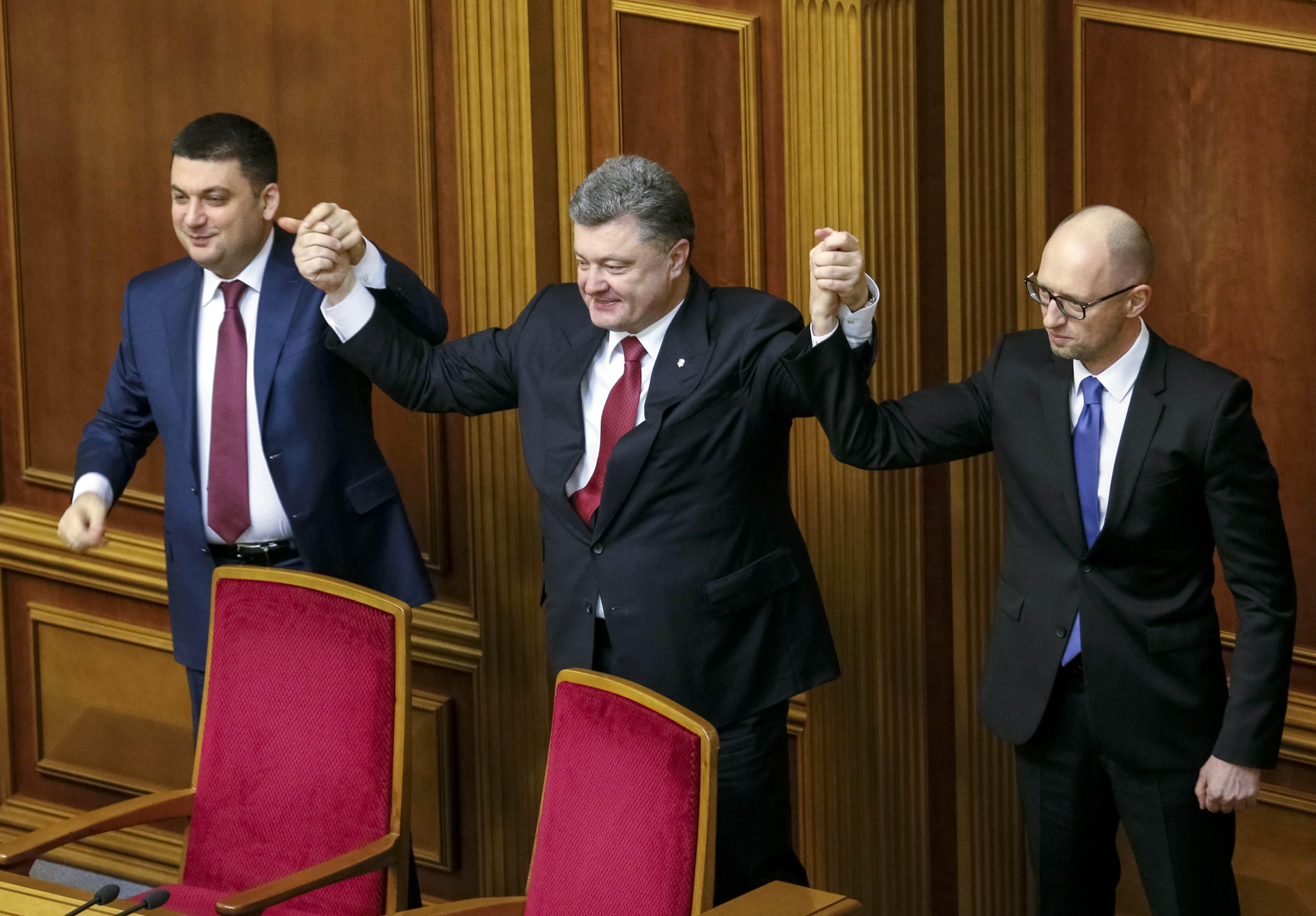 Владимир Гройсман, Петр Порошенко и Арсений Яценюк