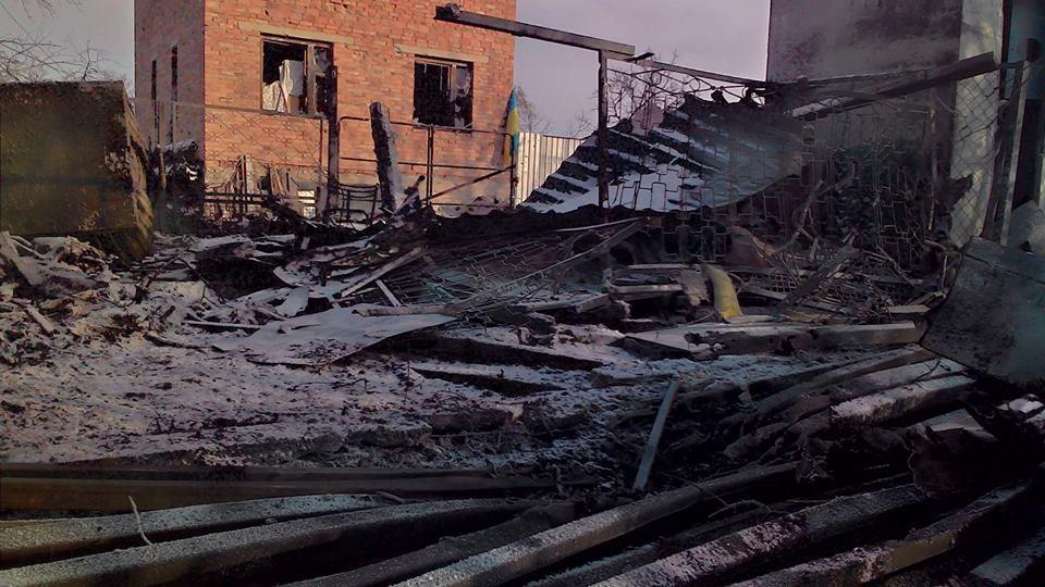 Село под Донецком после обстрела