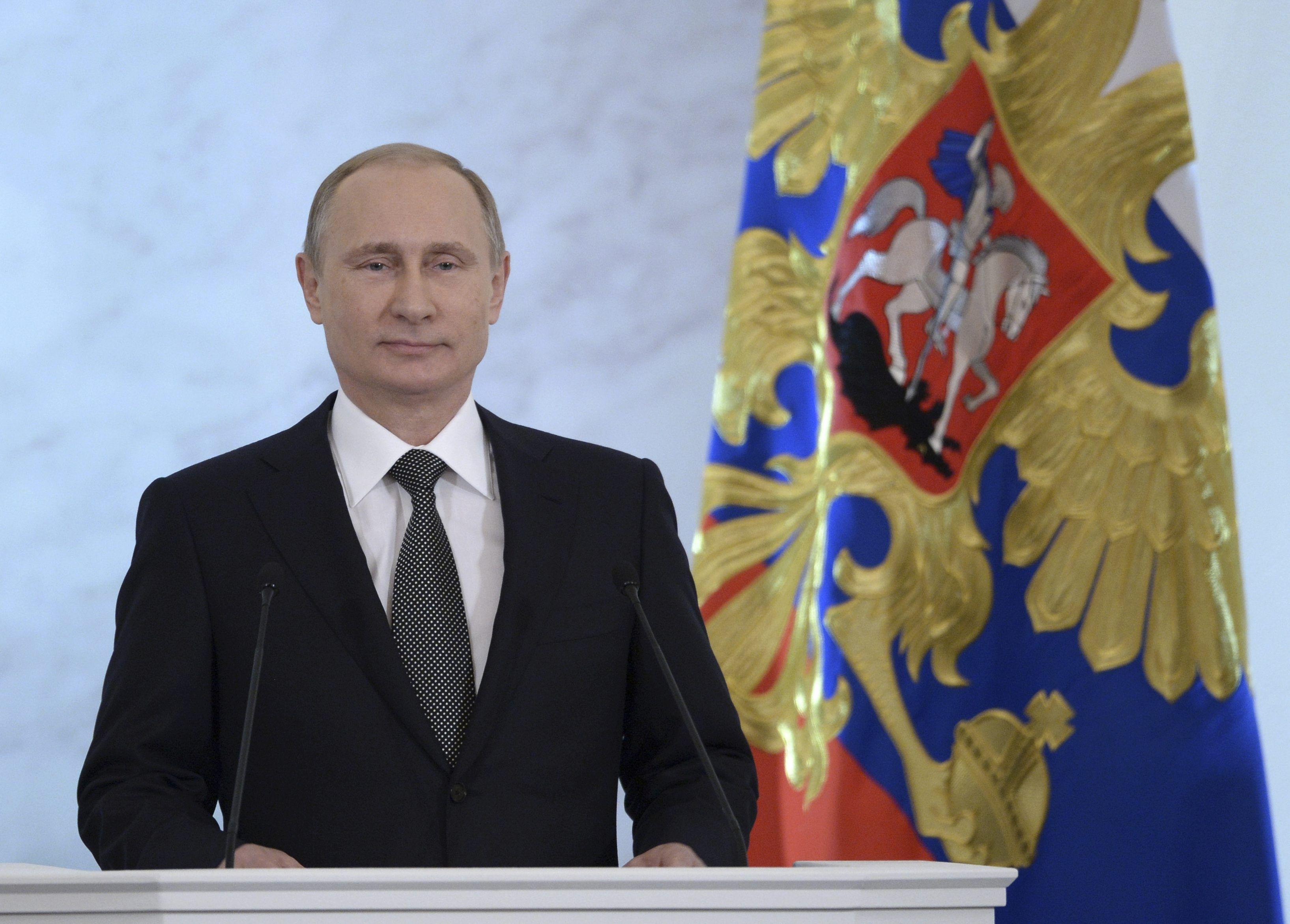 Владимир Путин в ходе выступления в Кремле